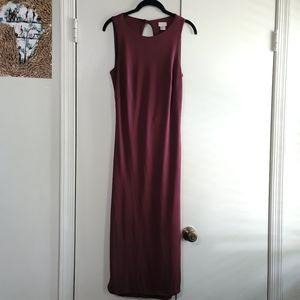 H&M Sleeveless Burgundy Midi Dress w/ Open Back